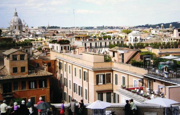 Вид на город с высоты лестницы на площади Испании
